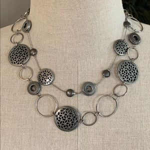 Jewelry - Double Layer Pewter Designer Necklace